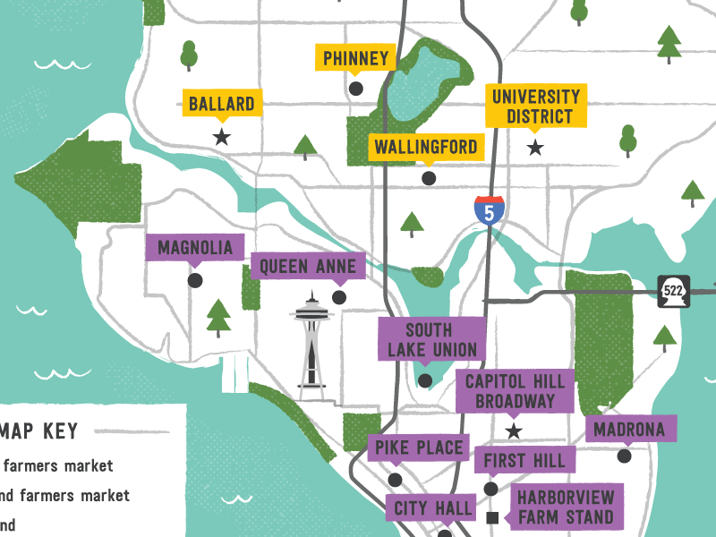 Seattle market map the city of seattle infographic icons seattle farmers market design typography map digital illustration