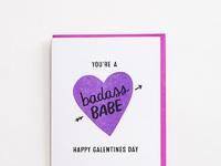 Happy galentines day card badass babe