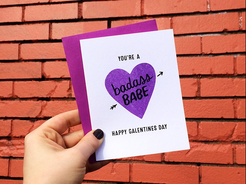 Badass Babe / Galentines Day card risograph riso stationery card galentines day galentines hearts hand lettering personal work lettering handmade illustration