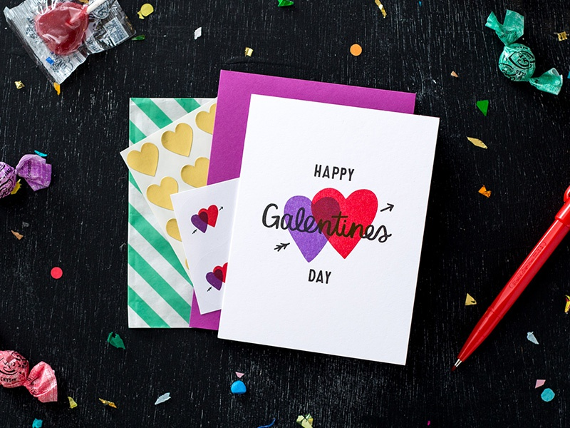 Galentines Day Sale! illustration card stationery risograph riso photo styling galentines day art direction hand lettering personal work lettering handmade