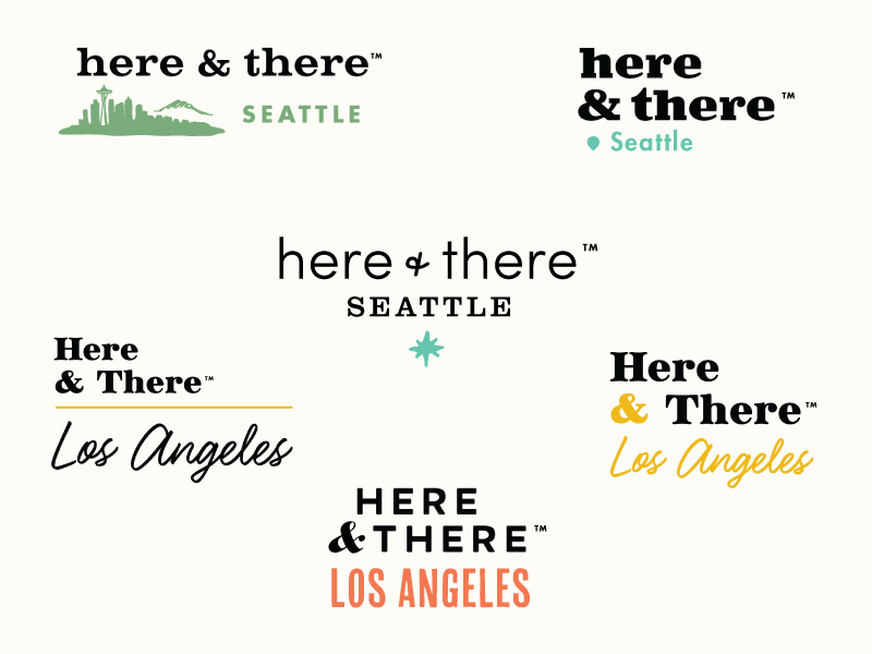 Here&There Logo Concepts design los angeles seattle icon travel concepts typography logotype identity logo branding