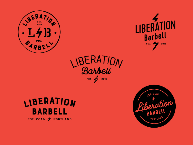 Liberation Barbell unused logo concepts lettering script type liberation fitness logotype logo branding typography