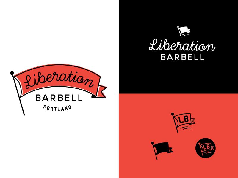 Liberation Barbell logo lettering script type liberation fitness logotype logo branding typography