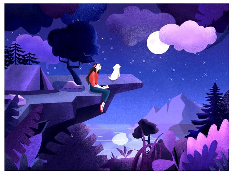Night illustrations starry sky