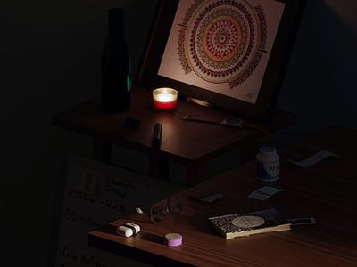 Desk Render product illustration design concept 3d product 3d