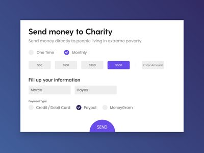 Send Money to Charity - A simple money sending form form form design payment method charity money flat web landing page ui design app