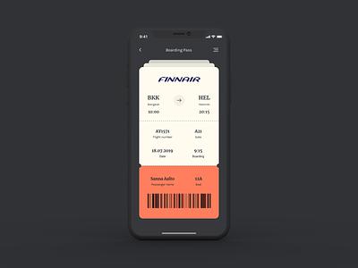 Daily UI Challenge #024 - Boarding Pass boarding pass dark ui mobile 024 ui design dailyui