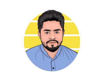 Cartoon/vector portrait yellow blue gift sketch drawing logo mascot design graphics gradient business branding graphic design background art illustration portrait vector cartoon