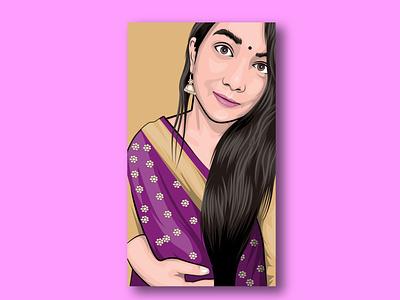 Girl Cartoon/vector portrait pink gift sketch drawing logo mascot design graphics gradient business branding graphic design background art illustration portrait vector cartoon