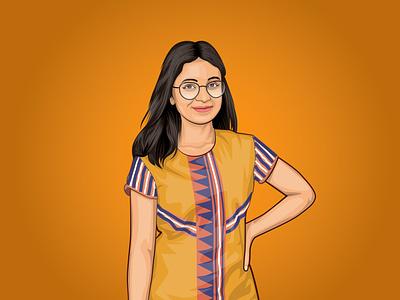 Girl Cartoon/vector portrait vector sketch portrait pink mascot logo illustration graphics graphic gradient gift drawing design cartoon business branding background art
