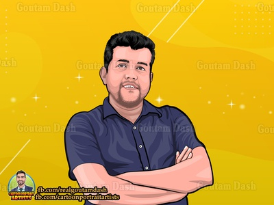 Cartoon portrait for a customer mascot business art gradient background drawing vector portrait illustration cartoon