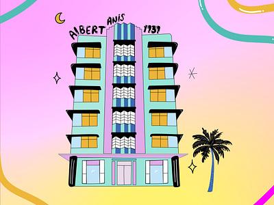 Art Deco Miami 3 adobe miami lettering illustrator on ipad illustration artdeco architecture adobe illustrator