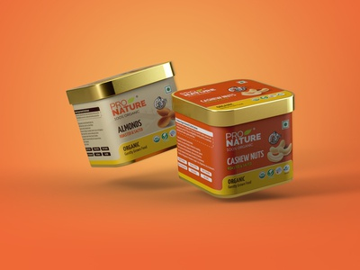 Packaging Design | Tin Can | PNO almond cashewnuts cashew package packaging branding render 3d mockup illustration ecommerce shopping tincan design cinema4d illustrator photoshop adobe illustrator cc adobe photoshop adobe