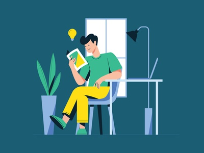 Man Reading a Book Illustration