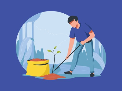 Man Planting a Tree Illustration