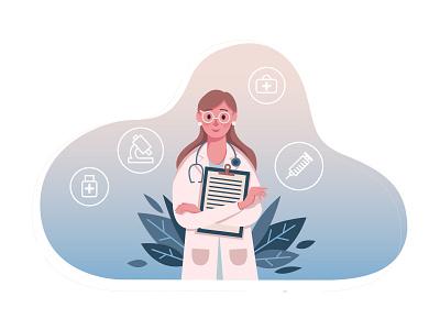 Female Doctor Illustration free download template psd vector illustration ai download freebie free