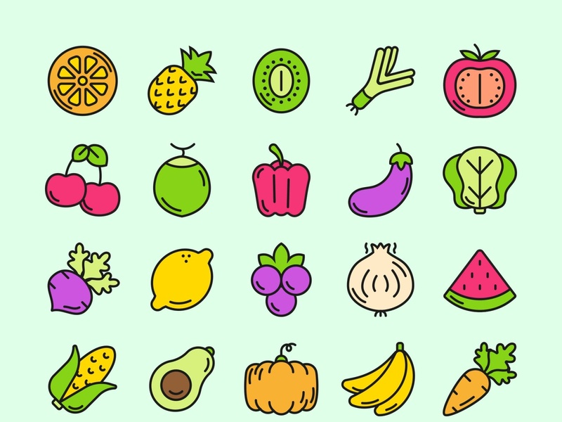 Fruit and Vegetable Icons template psd vector illustration ai freebie download free
