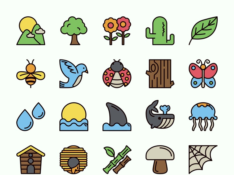 25 Nature Icons template psd vector illustration ai freebie download free