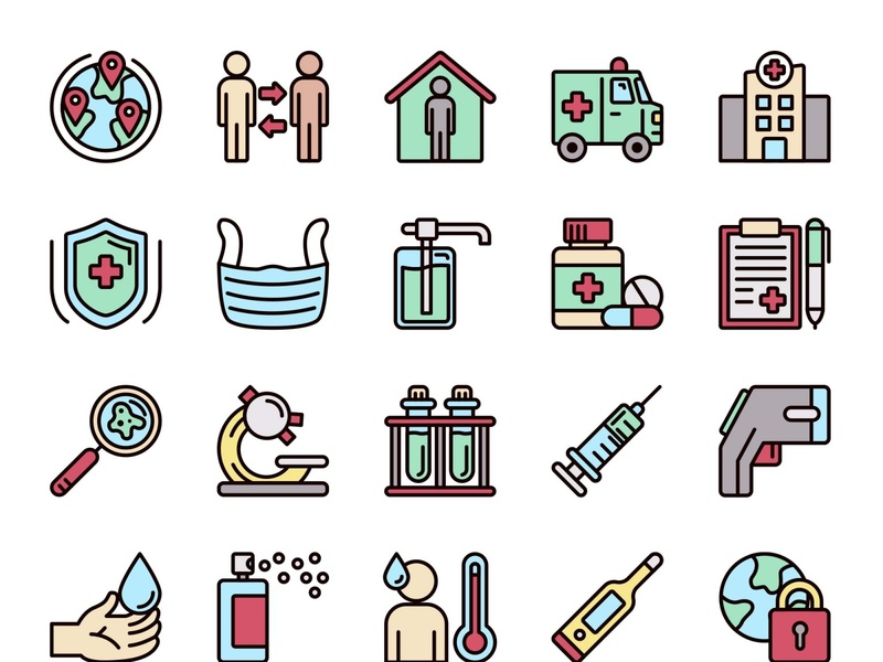 25 Pandemic Icons template psd vector illustration ai freebie download free