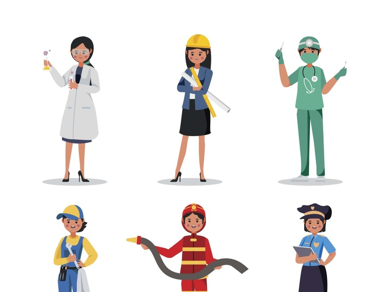Professions Characters Part 03 psd vector illustration ai freebie download free