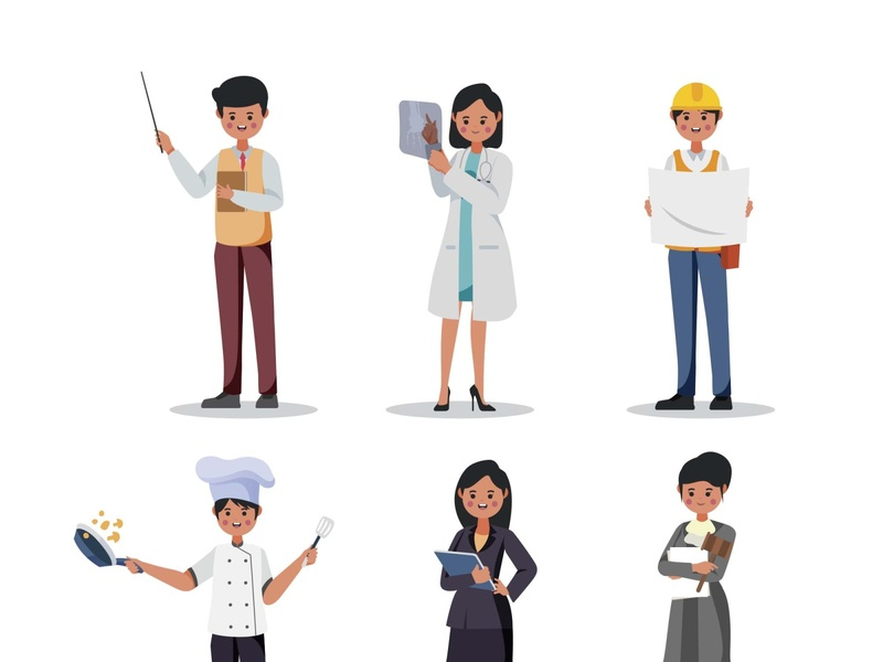 Professions Characters Part 02 template psd vector illustration ai freebie download free