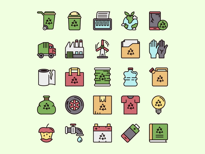 Recycling Icon Set ai download ai design ai vector ai illustrator illustration symbol logo design logo vector download vector design icons download icons pack icons set icon design vector icon recycling vector recycling icon recycling
