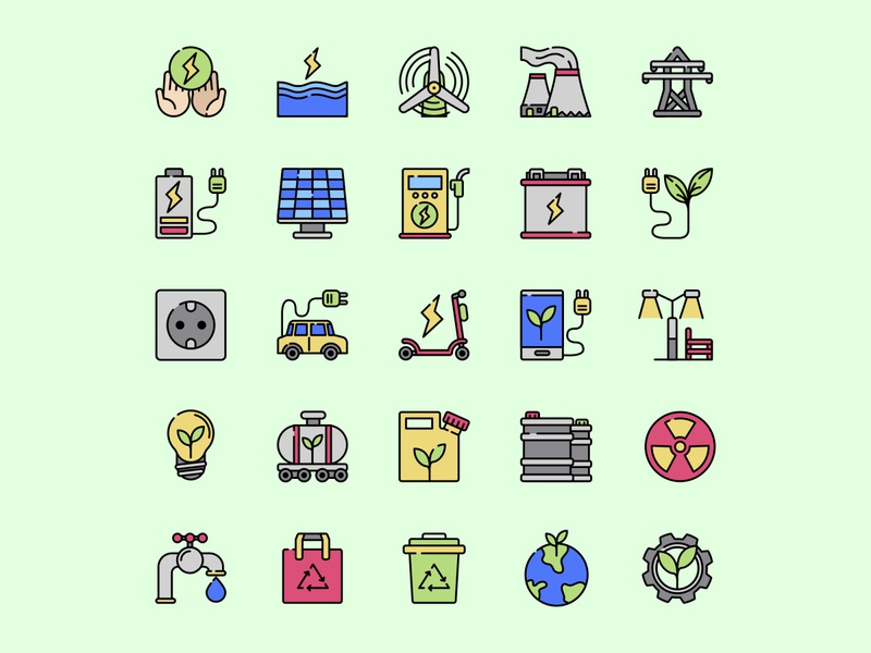 Sustainable Energy Icon Set ai design ai vector ai illustrator illustration symbol logo design logo vector download vector design icons download icons pack icons set icon design vector icon energy vector energy icon sustainable energy energy