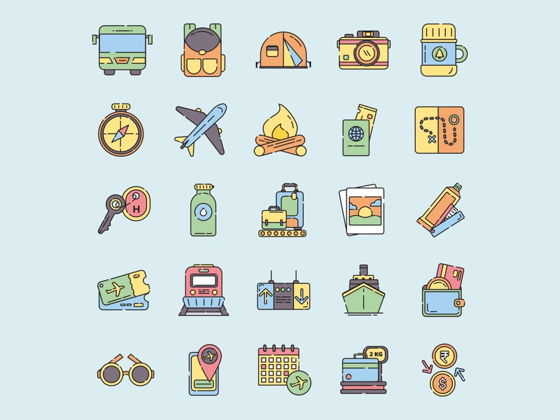 Travelling icon set ai design ai vector ai illustrator illustration symbol logo design logo vector download vector design icons download icons pack icons set icon design vector icon travel vector travel icon travellin travel