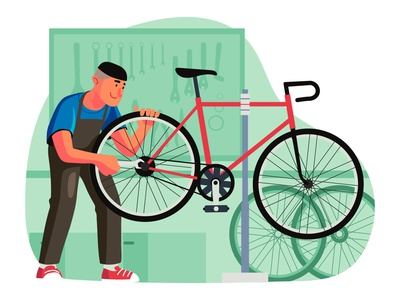 Bicycle Mechanic Illustration cartooning cartoon character design character illustrator vector design vector download vector vector illustration bicycle illustration illustration bicycle mechanic freebie