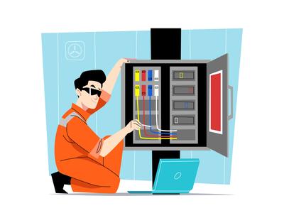 Electrical Technician Illustration cartooning cartoon character design character illustrator vector design vector download vector vector illustration illustration electrical technician freebie