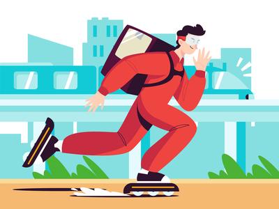 Fast Delivery Illustration cartooning cartoon character design character illustrator vector design vector download vector vector illustration delivery illustration illustration delivery freebie