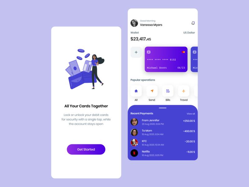 Wallet App Template-Figma ux design free app ui kit app template template wallet freebie figma app