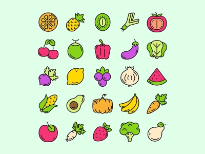 Fruit and Vegetable Icons ai download ai design ai vector ai illustrator illustration symbol logo design logo vector download vector design icons download icons pack icons set icon design vector icon vegetable vector fruit icon fruit freebie