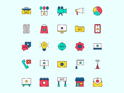 Advertising Icon Set ai download ai design ai vector ai illustrator illustration symbol logo design logo vector download vector design icons download icons pack icons set icon design vector icon advertising vector advertising icon advertising freebie