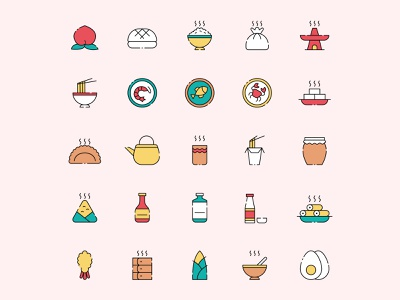 Chinese Food Icon Set ai download ai design ai vector ai illustrator illustration symbol logo design logo vector download vector design icons download icons pack icons set icon design vector icon food vector freebie