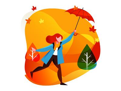 Girl With Umbrella Illustration cartooning cartoon character design character illustrator vector design vector download vector vector illustration girl illustration illustration umbrella girl freebie