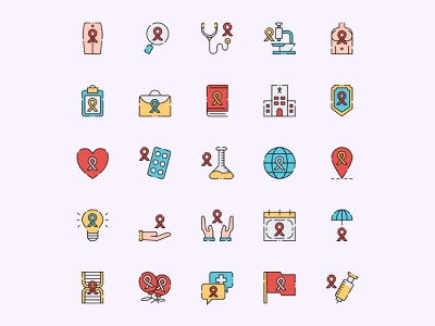 Women Cancer Awarness Icon Set ai download ai design ai vector ai illustrator illustration symbol logo design logo vector download vector design icons download icons pack icons set icon design vector icon awareness vector awareness icon cancer freebie