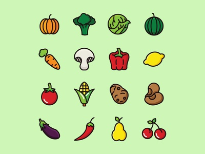 Vegetable Icon Set ai download ai design ai vector ai illustrator illustration symbol logo design logo vector download vector design icons download icons pack icons set icon design vector icon vegetables vector vegetables icon vegetables freebie