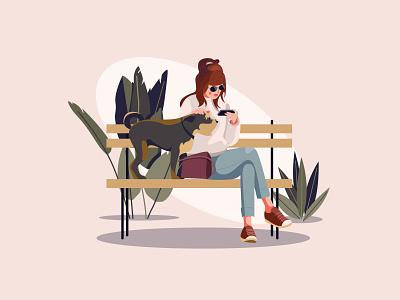 Girl with dog cartooning cartoon character design character illustrator vector design vector download vector vector illustration dog illustration illustration woman and dog freebie