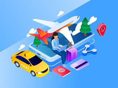 Travel App Illustration design cartooning vector vector design illustrator vector download freebie illustration illustration download vector illustration free illustration travel illustration travel app