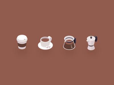 Coffee isometric icons