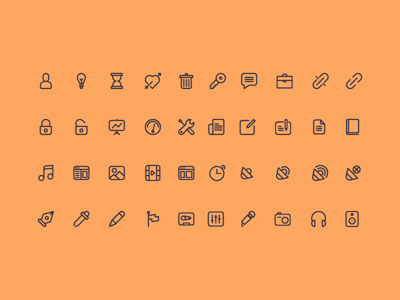 Cicons: 40 Outline Icons icons free psd ai illustrator mobile app user lock music web