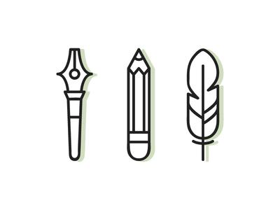 Pen, Pencil, Feather illustration vector illustrator shadow retro logo symbol icon feather pecil pen