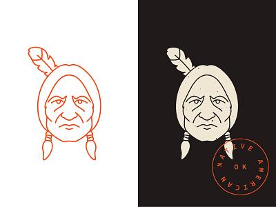 Native American retro vlad cristea graphicdelivery monoline icon illustration indian american native