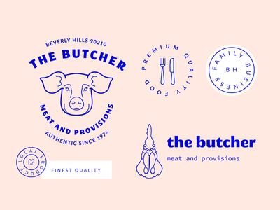 The Butcher illustration logos illustrator vector label badge logo symbol icon chicken pig