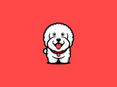Bichon dog logo design logodesign character designgraphic illustration smile funny art drawing illustrator vector icon mascot white branding logo animal cute dog