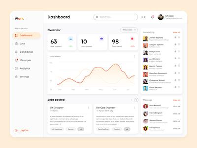 Work. Hiring & Job Dashboard Concept design graph chart statistic hiring panel ui design dailyui dashboard