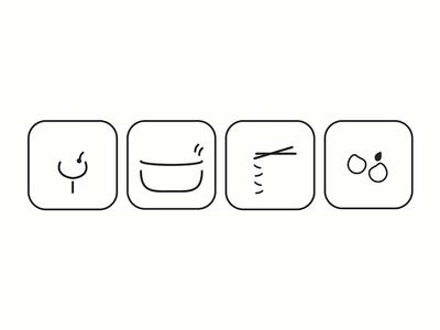 Oishi Icons shillington melbourne shillo melbourne shillington japanese menu branding design graphic design icon design icons