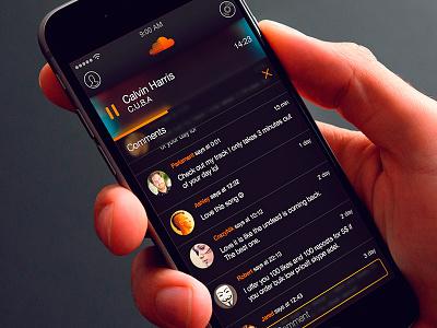 SoundCloud App — Comments Screen ios app design ui user interface cool design music player comments screen iphone 6 soundcloud sound music