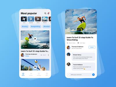 Sports Video App record sport app video app sports mobile ui mobile design mobile app design mobile app interface design interaction design concept design concept app design app